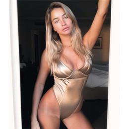 bustiers jaunes Promotion Néon Jaune Sexy Body Femmes Satin Bustier Top Deep V Cou Dos Nu Moulante Jumpsuit Clubwear 2019