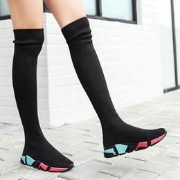 Baskets hautes femmes en Ligne-Cuissardes Bottes femme Chaussettes Bottes noires d'hiver 2019 long Cuissardes Slim tricot Sneakers Plate-forme Designer Shoes