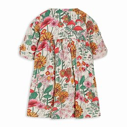 robes imprimées en gros de coton pour filles Promotion Vente en gros de robes de fille jupe fille vêtements Flower Print Boutique bébé vêtements pour enfants robe enfants tissés à manches courtes filles robe coton