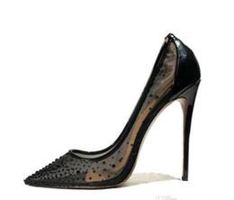 cuñas coreanas tacones sandalias Rebajas Envío gratuito novia boda tacones altos sexy negro verano malla cristal strass puntiagudos zapatos para mujer bombas puntiagudos zapatos de mujer
