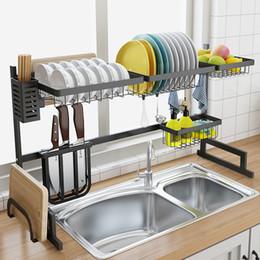 Drenos do assoalho da cozinha on-line-Prateleira de Aço Inoxidável Pia Dreno Prateleira Da Cozinha de Dois Andares Pia do Assoalho Rack de Cozinha Rack de Cozinha