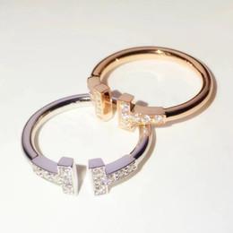 Doppelkantenband online-2019 Frühjahr neue Limited Edition einfachen Doppel T Diamant Ring Männer und Frauen Universal Weißgold Gold Band Rand Stein Ring