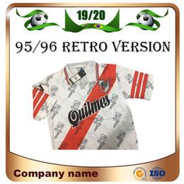 fußball trikot fluss platte Rabatt 1995/1996 Retro version River Plate Trikots 95/96 Home CANIGGIA Francescoli Fußballshirt Qualität Fußball Uniformen