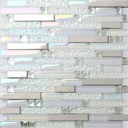 Azulejo de vidrio cocina azulejo salpicadero baño ducha azulejos pared SSMT399 plata metal mosaico de acero inoxidable desde fabricantes