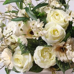 2019 sfondo stradale La tabella di cerimonia nuziale del centro del fiore della tabella di cerimonia nuziale del fiore di stile europeo piombo la decorazione artificiale del fiore del contesto di centrotavola di flore artificiale sfondo stradale economici