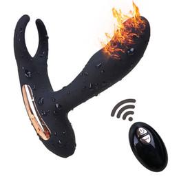 Juguete sexual para hombres con calefacción. online-Control remoto inalámbrico Masajeador de próstata Cargador USB Strapon para hombres Juguetes sexuales para vibradores anales para hombres Calefacción Tapones anales Productos por DHL