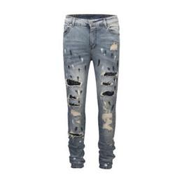 2019 мужская мода джинсы cut Европа и Америка Модный дизайнер Джинсовая пуговица на ногтях с эффектом резки Всплеск краски для чернил мотоцикла Тонкие стрейч джинсы длинные брюки для мужчин дешево мужская мода джинсы cut