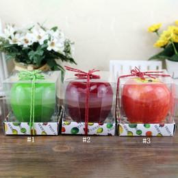 Velas artificiais on-line-Em forma de maçã do partido do Xmas aniversário perfumado vela criativo romântico do casamento Casa Decorações Artificial maçã de velas de cera MMA2593