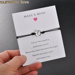 2019 braccialetti eleganti per le donne 2019 NEW Make A Wish Card Bracciale semplice elegante 6 colori corda di cera catena regolabile a forma di montagna ciondolo braccialetti intrecciati per le donne ragazze sconti braccialetti eleganti per le donne