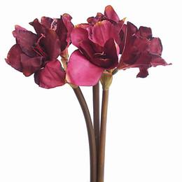 Fiori di seta rossi grandi online-29.5''Tall Stelo Fiori Decorazione grande stelo Fiori di Amaryllis in colore rosso scuro Autunno per decorazioni natalizie Fiore di seta elegante