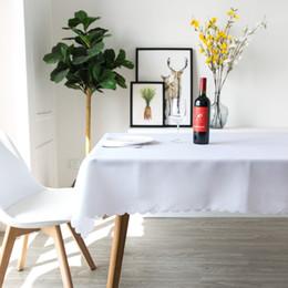 Toalha de mesa lisa on-line-Cor sólida Branco 100% Poliéster Toalha De Mesa Pano De Tabela De Jantar Retângulo Simples Vermelho Tampa De Tabela Casa Sala de estar Decoração