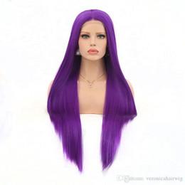 sexy lila perücken Rabatt Hot Sexy Lange Gerade Dark Purple Hand Gebunden Hitzebeständige Faser Haar Schwere Dichte Synthetische Lace Front perücken für Schönheit Frauen Perücken