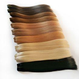 permanentes extensions de cheveux humains Promotion AliMagic Black Brown Blond Rouges Faisceaux D'armure de Cheveux Humains 8-26 Pouces Extension de Cheveux Raides Non Remy Brésiliens Peut Acheter 2 ou 3 Faisceaux