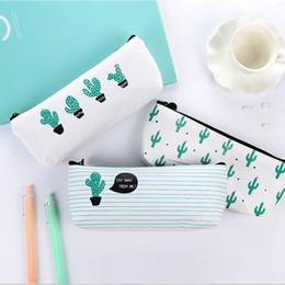 Sacolas de escola da novidade on-line-Novidade Cactus Escola caixa de lápis Escola Kawaii Produtos de papelaria Lápis Box Pen Bolsas Escolas Escritórios