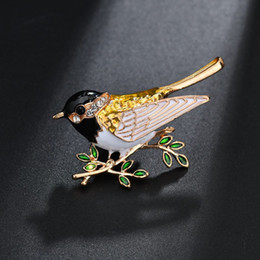 spille smaltate Sconti Nuovo arrivo perni smalto uccello spilla moda animale carino spilla unisex donna camicia uomo collare vintage pins