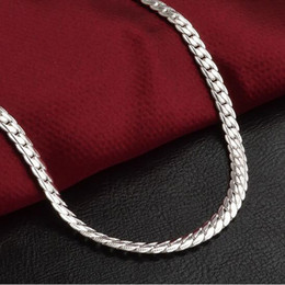 2019 sterling silber knochen 5mm 925 Silber Schlange Knochen Kette Halskette Mode Ketten Männer Frauen Schmuck Halskette DIY zubehör 20 22 24 26 28 30 Zoll günstig sterling silber knochen