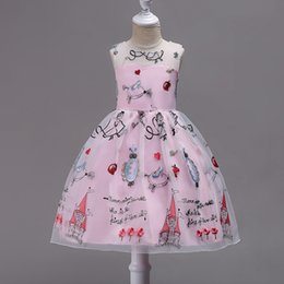 62fcbeff1c7 Pretty Knee length Printed Flower Girl Dresses 2018 Pink Communion Dresses  Sleeveless Pageant Dresses For Girls
