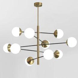 8/10/12 Heads Postmodern Loft Molecular Pendant Light Art Designer creativo sfera di vetro Villa Hotel Hall Led appendere le luci da