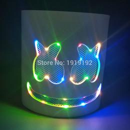 levou fibra óptica luz branca Desconto EVA Marshmallow Capacete Máscara LED Colorido DJ Marshmello Cosplay Prop Máscaras Do Partido Bar DJ EVA Luminosa Máscara Com bateria