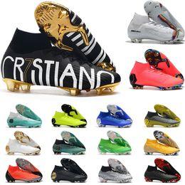 Football cr7 en Ligne-2019 Mercurial Superfly VI Chaussures de football 360 Elite FG KJ 6 XII 12 CR7 SE Ronaldo Neymar Hommes Femmes Garçons Outdor Football Bottes Crampons US3-11