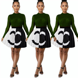 club skirts Promo Codes - 2019 Designer Woman Summer Dresses Summer Letter Printed Pleated Mini Skirts Brand Short Dress Evening Party Club Women Dresses New C7207