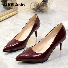 f88e9b2ceaf 2019 Dress Plus Siz 33-43 HOT Women Shoes Pointed Toe Pumps Patent Leather Dress  High Heels Boat Shoes Wedding Shoes Zapatos Mujer Bridal