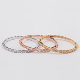 titanium bangle rose gold Coupons - Women Rose Gold Diamond Bangle Charms Natural Valentine's Day Wedding Engagement Jewelry