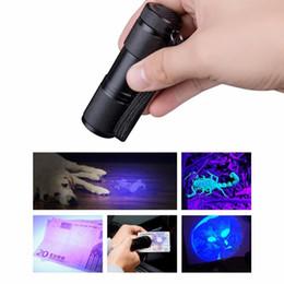 2019 aa batería cree led 9 LED Mini Aluminio UV Ultra Violeta Linterna Antorcha Lámpara Luz Invisible Blacklight Detección de tinta Marcador