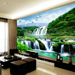 2019 cachoeiras fotográficas Jointless personalizado qualquer tamanho foto papel de parede 3d cachoeira bela paisagem natural decoração de casa papel de parede cachoeiras fotográficas barato