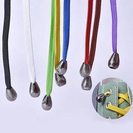 новые пароли Скидка 1Pair 100CM No Tie Elastic Shoelaces With Metal Head For Sneaker Kid Adult Convenient Wild Lazy Flat Shoe Laces Cordones Zapato
