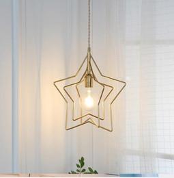 araña de latón de iluminación moderna Rebajas estrella de latón lámpara moderna del poste sencillo restaurante corredor porche ventana de la habitación creativa lámpara de luz del balcón