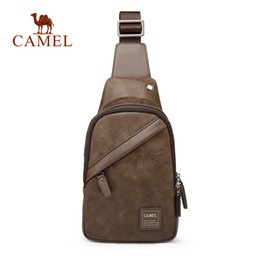 CAMEL Men Leather Chest bag New Casual fashion Slung Backpack Korean Style  Backpacks For Outdoor Backpack For Men d684ab62a0a9b