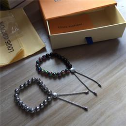 pulseiras com miçangas Desconto Marca nova marca pulseira deslumbrar cor água contas de metal pulseira de luxo homens mulheres pulseira caixa de embalagem da marca