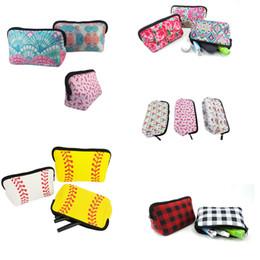 Бейсбольные сумки онлайн-Неопрен косметическая сумка лилия с цветочным принтом водонепроницаемый макияж сумки дорожный туалет чехол портативный сумка для хранения бейсбол плед сумка кошелек B71901
