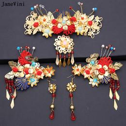 2019 chinesische traditionelle hochzeit schmuck JaneVini 2018 Chinesische Traditionelle Braut Haarschmuck Kopfschmuck Ornamente für Frauen Gold Haarnadel mit Ohrring Hochzeit Zubehör C19010501 günstig chinesische traditionelle hochzeit schmuck