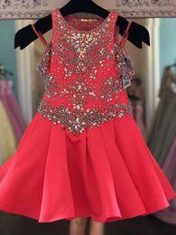 Ata para arriba el vestido del desfile del niño online-Little Miss Girl Pageant Dress 2019 Rhinestones Water Melon Infant Toddler Pageant Gonws Glitz Unique Fashion Jewel Lace Up Off the Shoulder
