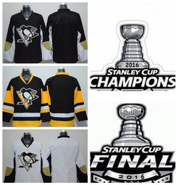 Pittsburgh hockey jersey vuoto online-Blank Pinguini Jersey Pittsburgh 2016 Stanley Cup Champions Final Patch Ice Hockey Blank pullover poco costoso Nero Bianco Giallo