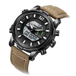 2019 наручные часы Megir мужские цифровые хронограф кварцевые часы спортивные двойной дисплей часовой пояс кожаный ремешок светящиеся наручные часы скидка наручные часы