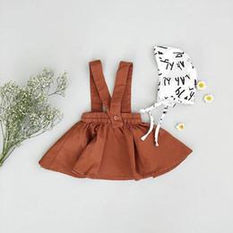 vestido 3y niñas Rebajas 2018 niños de los bebés vestidos de falda de la liga Tutu Brown Trajes de faldas con cintas de hombro Party Girl Dress Kid Kid Ropa 6M-3Y