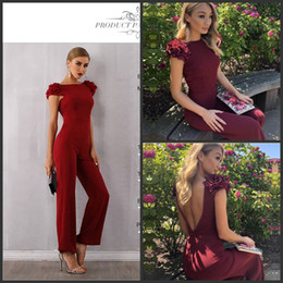 Bodysuit volants en Ligne-Celebrity Runway Jumpsuits For Women 2019 New Summer Sexy Red Backless Romper Long Jumpsuit Sexy Ruffles Bodycon Club Bodysuit