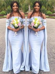 Vestidos negros para bodas invitados online-Africana Sexy Chica Negro Azul Hombro Único Manga Larga Sirena Vestidos de dama de honor Bodas Vestido de Invitado Vestidos de Honor