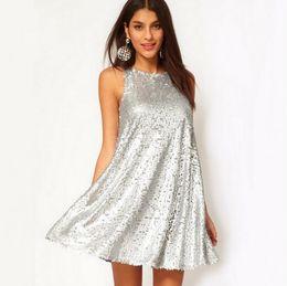 2019 vestido negro victoriano corto Vestido de las mujeres para el partido Shinny Silver Sequins sin mangas Mini vestidos Sexy Night Out Sundress Envío gratis