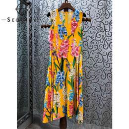 974a966b98 2019 vestido midi flor SEQINYY Vestido Midi Femme Jacinto Imprimir 2019  Moda Verão de Alta Qualidade