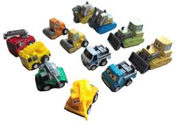 Kid Plástico Bebê Mini Pull Back Car Brinquedos Pullback Modelos de Veículos Caminhão Escavadeira Guindaste Xmas Presente 12 pc um conjunto de