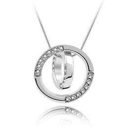 dresses singapore Promo Codes - Labekaka Crystal Round Pendant Necklace Dress Banquet Classic Popular Women Jewelry