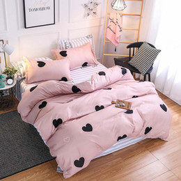 king single sheets Coupons - 4Pcs Luxury Pink Lovely Bedding Set Children Cartoon Printing Duvet Cover Set Single Twin Full Queen King Sheets Pillowcases Bed Linings