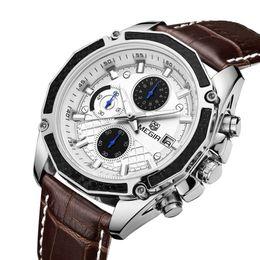 Reloj натуральная кожа онлайн-Official Quartz Men Watches Fashion Genuine Leather Chronograph Watch Clock for Gentle Men Male Students Reloj Hombre 2015