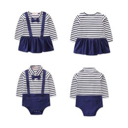 2ef6bc2757ef China Autumn Infant Baby Boy Girl Cotton Navy Stripe Romper Jumpsuit  Clothes Outfit suppliers