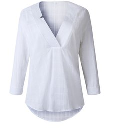 fe5c6718bf5f7 Blusas para mujer Verano Camisa de manga larga con cuello en V Top de  oficina Blusa de lino informal Ropa de mujer
