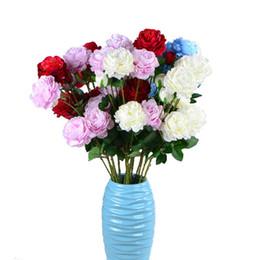 Argentina Fiesta de primavera decoración de la boda matrimonio flor falsa decoración para el hogar 3 cabeza rosa flor flores de seda artificial para el ramo de bricolaje DH0915-1 Suministro